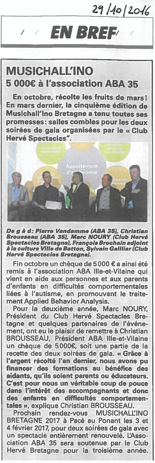 Magasine 7 jours - 5 000 € remis à l'association ABA